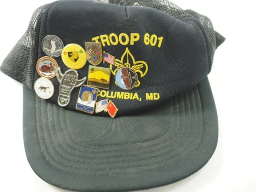 Boy Scouts of America Troop 601 Columbia MD Cap Hat with11 Pins