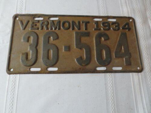 1934 VERMONT LICENSE PLATE 36-564