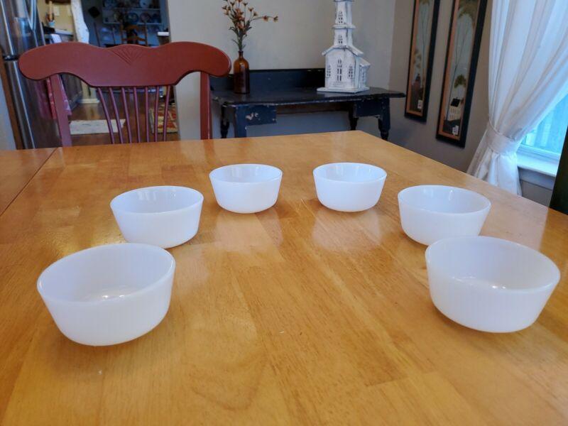 Vintage Anchor Hocking Fire King Milk Glass 6 oz Custard Cups Set of 6 EUC
