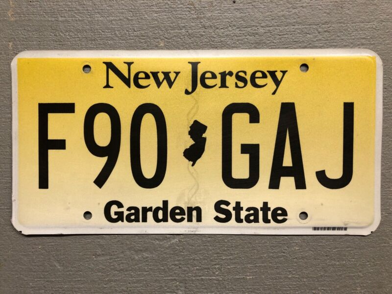 NEW JERSEY LICENSE PLATE  GARDEN STATE YELLOW/BLACK RANDOM LETTERS/NUMBERS