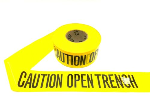"""Banner 40-0009 Tape Yellow With Black CAUTION OPEN TRENCH 3"""" x 1000"""" Roll"""