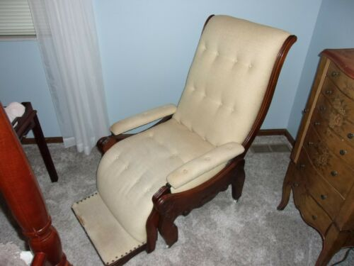 ANTIQUE 1865 CHASE/RECLINING WOOD/FABRIC CHAIR ~ CIRCA 1865 ~ VGC!