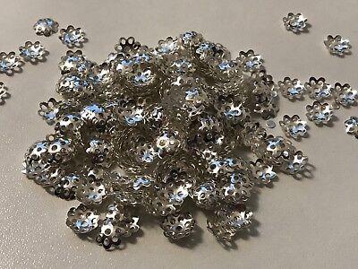 250 filigrane Perlkappen Perlenkappen 8 mm silber Spacer Schmuck basteln H2012