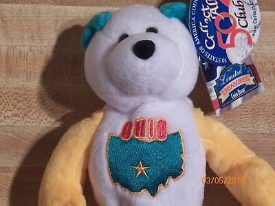 Ohio Quarter Beanie Bear 17th State Collectible Stuffed Coin Bear new retired