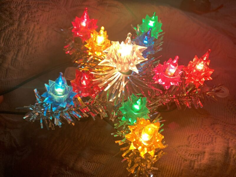 Vintage Christmas Tree Light Up Silver Tinsel Star  Topper Flashing - Works!!