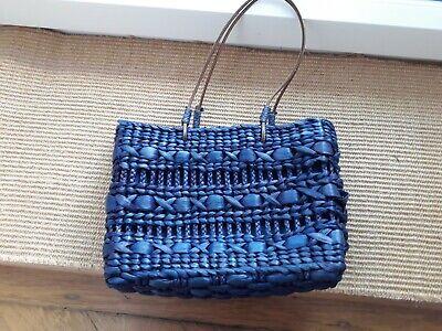 Blau Stroh Handtaschen (GEFLOCHTENE BASTTASCHE BAST  HANDTASCHE BLAU STROH WEIDE TOP !!)