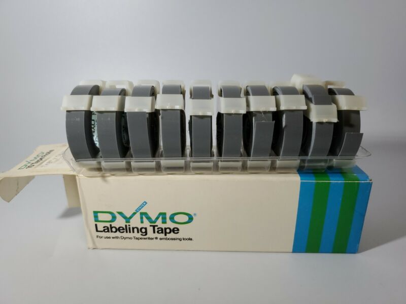 """Vintage DYMO Labeling Tape Glossy 3/8"""" x 144"""" Lot Of 10 Rolls GLOSSY GREY"""