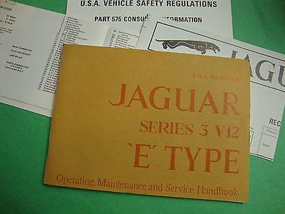 1717(1465) New Jaguar V12 S. 3 XKE USA  Specification Owners Manual  for sale  Shipping to Canada