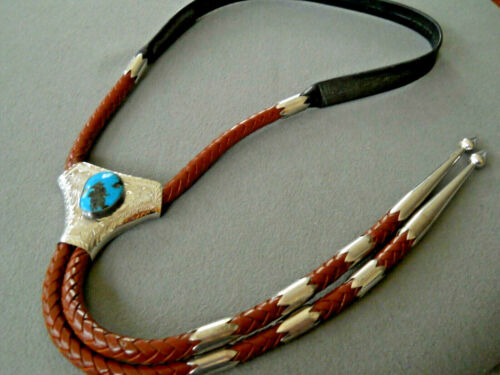 VIC CEDARSTAFF Southwestern Morenci Turquoise Sterling Silver Engraved Bolo Tie