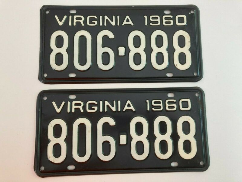 1960 Virginia License Plate PAIR Plates All Original Ford Fairlane Chevy Dodge