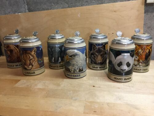 Set of 7 Budweiser Endangered Species beer steins