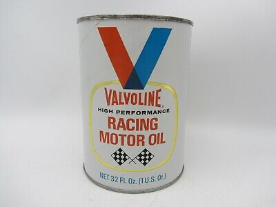 VTG FULL 1 QUART VALVOLINE SAE 30 RACING MOTOR OIL CARDBOARD CAN LUBRICANT