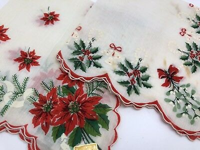 Vintage Hankies Lot 2 w/ Christmas Bells, Red Poinsettia Floral & Holly (RF899)