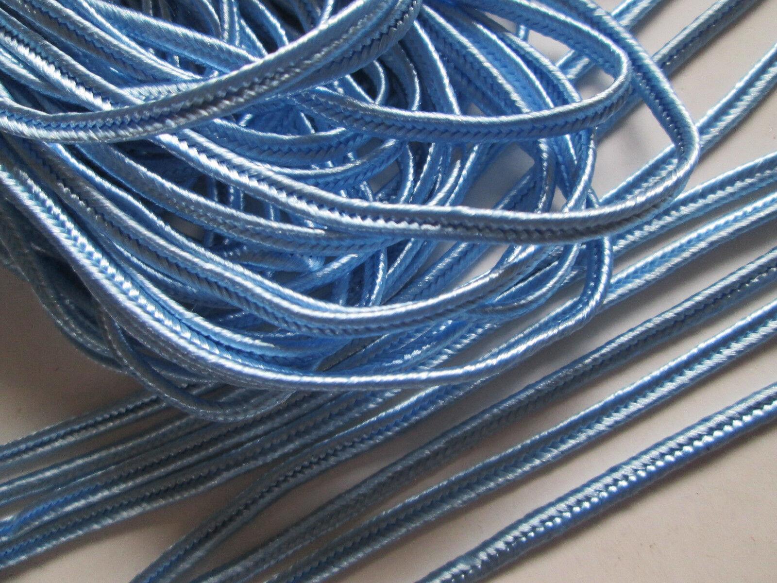 10 METER Flach kordel Satin Hell Blau 3mm elegante Borte Spitze KR 102****