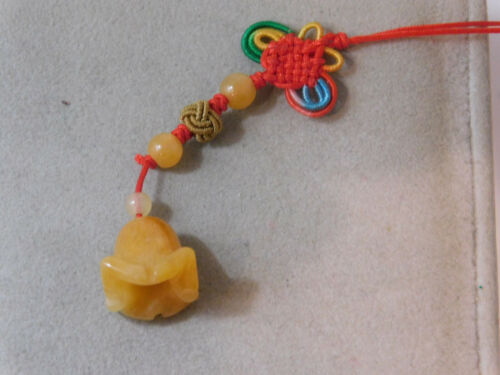 Chinese Golden Jade Carved Bell Flower Knotted Cord Phone Charm Talisman 2f 17