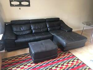 LARGE  LEATHER CORNER SOFA WITH CHAISE LOUNG Spotswood Hobsons Bay Area Preview