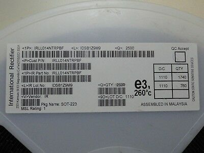Irll014npbf Ir Irll014n Mosfet Transistor 55v 2.8a 4-pin Rohs 40 Pcs