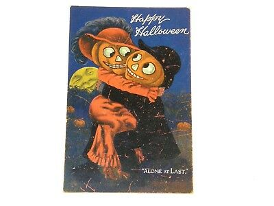 BERNHARDT WALL VALENTINE & SONS ARTOTYPE HAPPY HALLOWEEN ALONE AT LAST Postcard