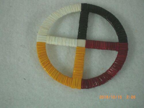 "Quilled Lakota Four Directions 2""  Medicine Wheel"