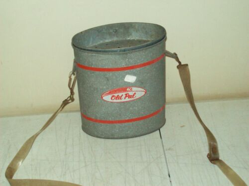 vintage USA Old Pal Galvanized Oval Wading Minnow Bait Can Bucket With Strap