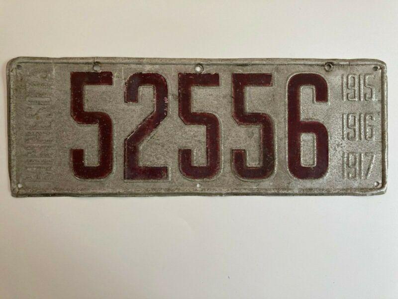 1915 1916 1917 Minnesota License Plate All Original Paint