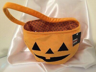 VELVET PUMPKIN HALLOWEEN CANDY BUCKET BAG POLKA DOT LINED NWT - Halloween Pumpkin Buckets