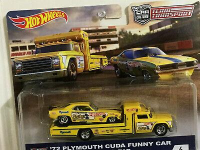 Hot Wheels Tram Transport 72 Cuda Funny Car NHRA Don Prudhomme w/ RIG