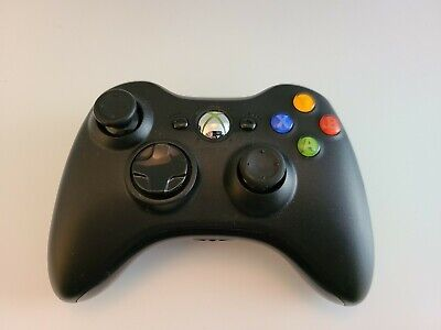 Xbox 360 Black Wireless Controller Official Microsoft OEM - TESTED