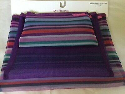 Isaac Mizrahi New York  Mesh Travel Pouches 3 Piece Set Purple Stripe-Solid 5730