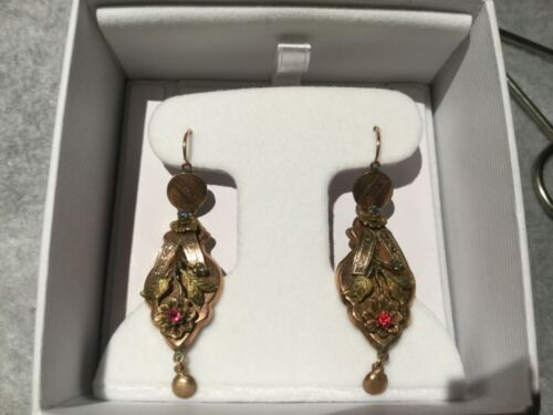 Stunning Antique Vintage Deco 9k Gold Dangle Convertible Earrings