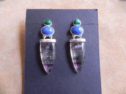 Malachite, Lapis, Fluorite & Sterling Silver .925 dangle Earrings signed CY