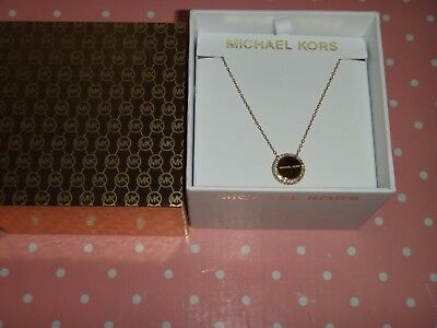 Michael Kors Women's Brilliance Gold Tone MK Necklace Crystals MKJ6178710 + BOX