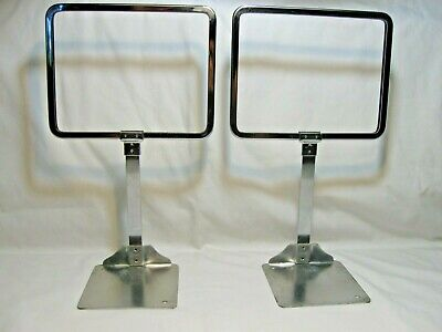Vtg ROC Chicago Metal Dept. Store Display Sign Holders-Advertising Signs