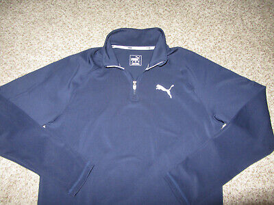 PUMA Golf 1/2 Zip Pullover Long Sleeve Navy Blue Sweatshirt Jacket Coat Large L