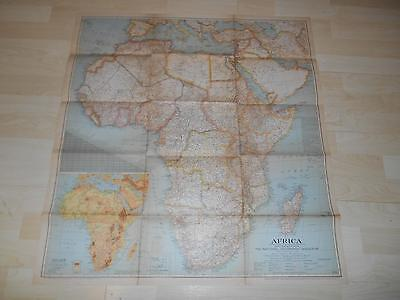 "Old Vtg 1943 AFRICA WALL MAP 29 1/2""x 31"" Hanging Decor"