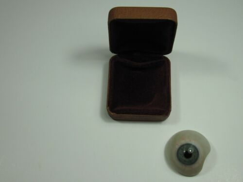 Vintage Prosthetic Glass Eyeball for Humans Grey With Case