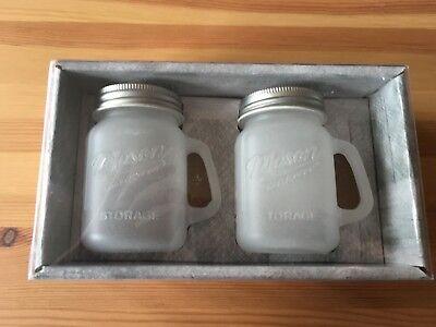 Mason Craft & More Canister 2 Mini Jar Pfeffer Salz Pepper Salt Streuer Matt