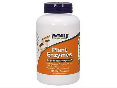 240 Vcaps Now Foods (Plant Enzymes 240 vCaps, Now Foods, FAST 1st Class SHIPPING )