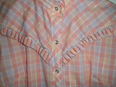 Vintage NEW Cowgirl Western Rodeo Ranch SHIRT H Bar C RUFFLES Pearl Snap Beauty