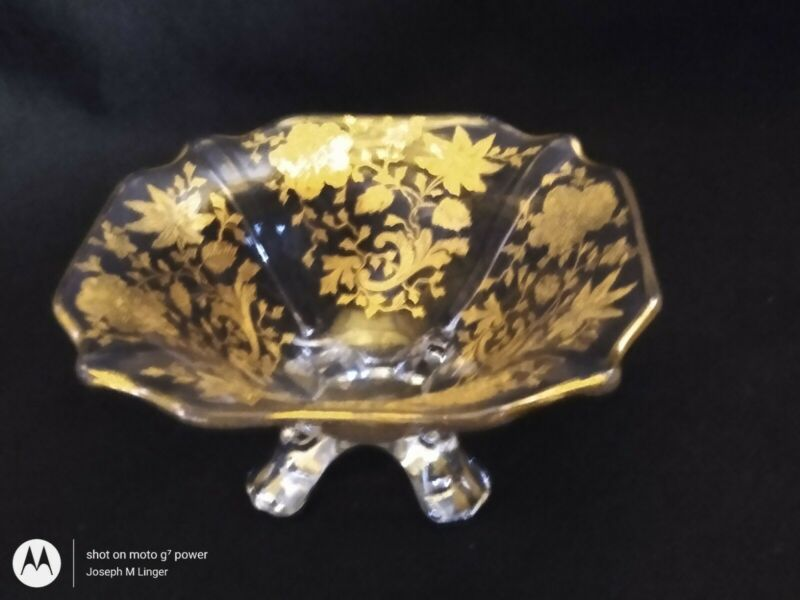 Gold Decorated Cambridge Wildflower Footed Bowl