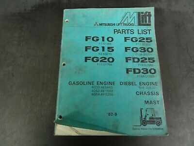 Mitsubishi Fg10 Fg15 Fg20 Fg25 Fg30 Fd25 Fd30 Forklift Parts List Manual