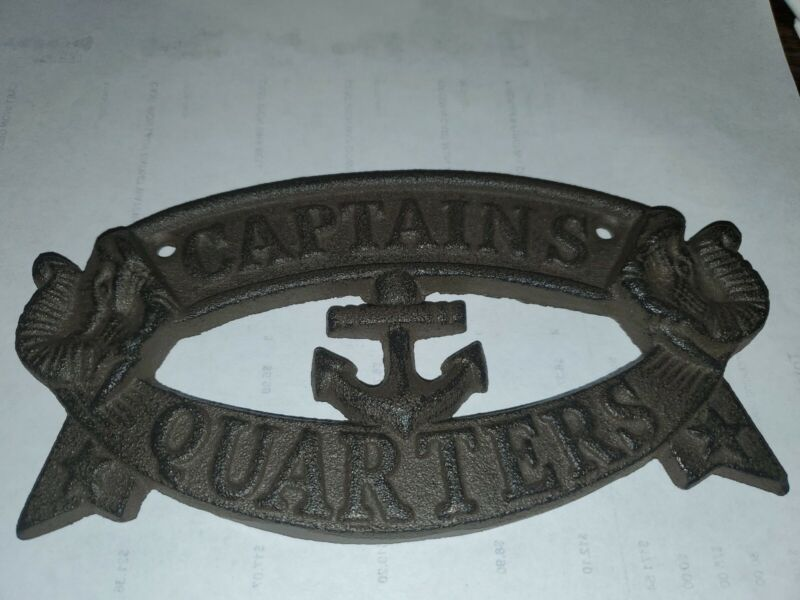 Cast Iron Captains  Quarters Plaque