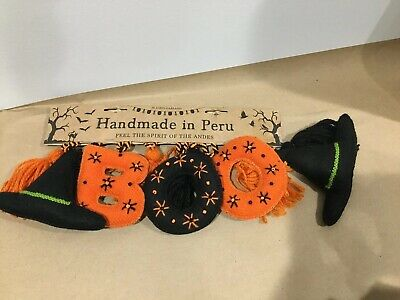 7ft Long yarn and Felt Halloween Witch Hat With BOO Garland Made In Peru