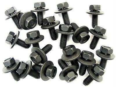 Body Bolts For Nissan- M6-1.0mm x 16mm Long- 10mm Hex- 17mm Washer- Qty.20- #180