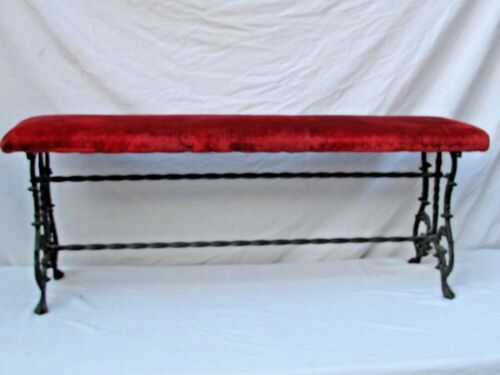 """Antique Ornate Wrought Iron 48"""" Bench Velvet Cushion Seat Outdoor / Indoor"""