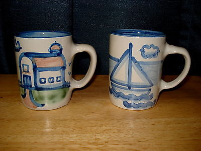 M A Hadley Two Coffee Mugs Sailboat and Country Scene Barn