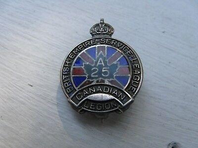 "WWI BRITISH EMPIRE SERVICE LEAGUE - CANADIAN LEGION ""A25"" Silver Lapel Badge"
