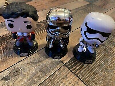 Funko Pop Vinyl Star Wars Force Awakens Lot of 3 Figures Poe Phasma Stormtrooper