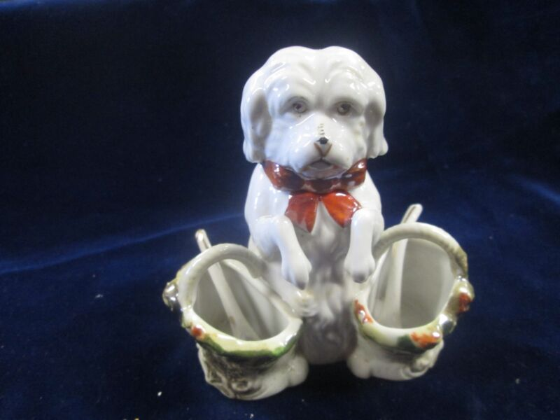 OCCUPIED JAPAN DOG FIGURAL GLAZED BISQUE 3 SECTION CONDIMENT SET PUP W/BASKETS