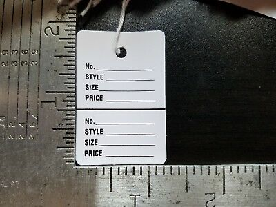 1000 White Price Tags Wstring Perforated 2 Part Garment Merchandise Strung Sm.